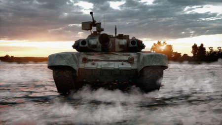 Heavy military tank in the field of battle. War concept, 3d illustration. Stok Fotoğraf - 167474271