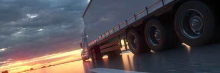 Semi Truck In Motion. Truck wheels closeup on asphalt road highway. Trucking Business Concept. 3d rendering.