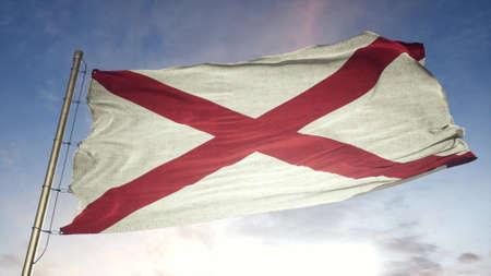 Alabama US State grunge flag. Alabama dirty flag with highly detailed fabric texture. 3d illustration. Stok Fotoğraf