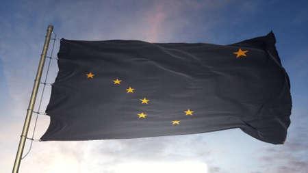 Alaska US State grunge flag. Alaska dirty flag with highly detailed fabric texture. 3d illustration.