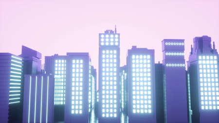 Futuristic neon city backgrounds. 3d illustration of cyberpunk cityscape.