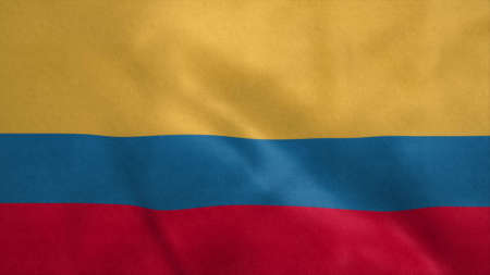 National flag of Colombia blowing in the wind. 3d illustration.