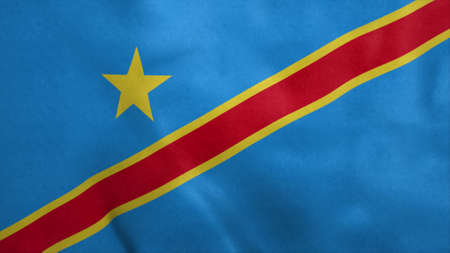 Democratic Republic of the Congo flag blowing in the wind. 3d illustration. Stok Fotoğraf