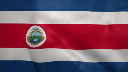 Republic of Costa Rica flag blowing in the wind. 3d illustration. Stok Fotoğraf - 167474366
