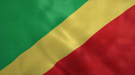 Republic of Congo flag blowing in the wind. 3d illustration. Stok Fotoğraf