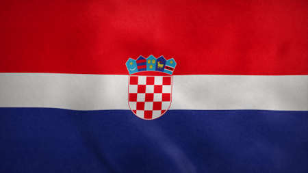 National flag of Croatia blowing in the wind. 3d illustration.