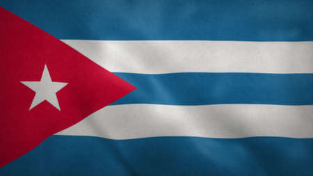 Republic of Cuba flag blowing in the wind. 3d illustration.