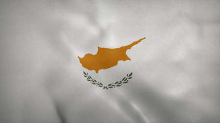 Republic of Cyprus flag blowing in the wind. 3d illustration. Stok Fotoğraf