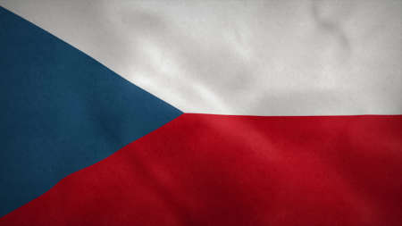 National flag of Czech republic blowing in the wind. 3d illustration. Stok Fotoğraf
