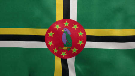 National flag of Dominica blowing in the wind. 3d illustration. Stok Fotoğraf