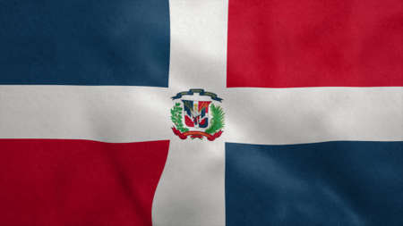 National flag of Dominican Republic blowing in the wind. 3d illustration.