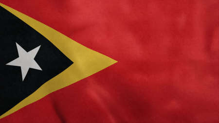 National flag of East Timor blowing in the wind. 3d illustration.