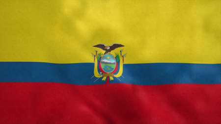 National flag of Ecuador blowing in the wind. 3d illustration. 版權商用圖片
