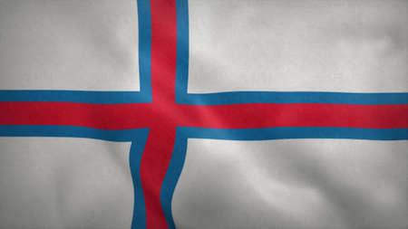 National flag of Faroe Islands blowing in the wind. 3d illustration. Stok Fotoğraf