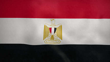 National flag of Egypt blowing in the wind. 3d illustration. Stok Fotoğraf - 167474430