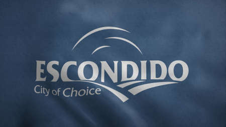Flag of Escondido, city of California. 3d illustration. 版權商用圖片