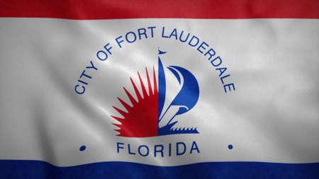 Fort Lauderdale, Florida flag waving in the wind. 3d illustration. 版權商用圖片
