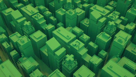 Futuristic green city with skyscrapers. Abstract isometric city. 3d illustration.