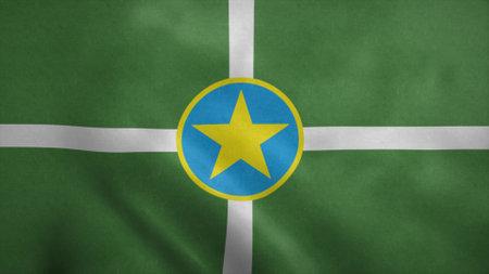 Jackson city flag, Mississippi state. 3d illustration. Stok Fotoğraf - 167334541