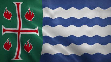 Mayaguez flag, city of Puerto Rico. 3d illustration.