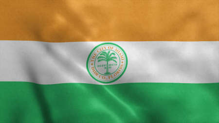 Miami Florida US city flag. 3d illustration. 版權商用圖片