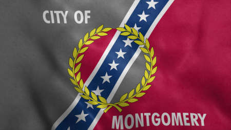 Flag of Montgomery USA City. 3d illustration.