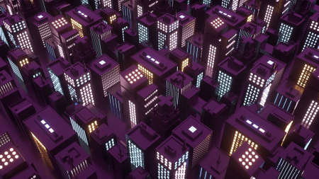 3d illustration of isometric cyberpunk city with skyscrapers.