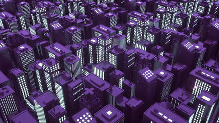 3d illustration of isometric futuristic city with skyscrapers.
