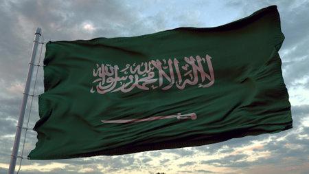 Realistic Flag of Saudi Arabia waving at wind. 3d illustration.