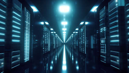 Server Racks In a Modern Data Center. Cloud Technology concept. 3d illustration. 版權商用圖片