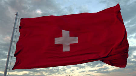 The national flag of Switzerland flutters in the wind. 3d illustration.
