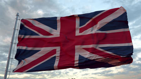 United Kingdom flag waving in the wind. 3d illustration.