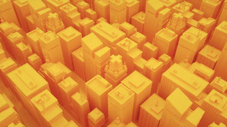 Futuristic yellow city with skyscrapers. Camera moves through abstract isometric city. 3d illustration background