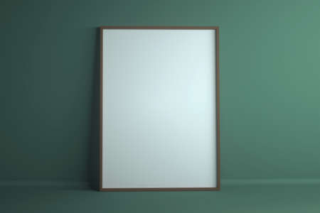 Empty white frame on green background. Mockup with copyspace. 3d rendering.