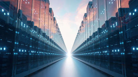 Computer servers in the clouds. Cloud computing concept. Communication network. 3d rendering