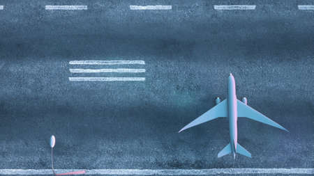 Top down view of airplanes parked on airport runway. 3d rendering