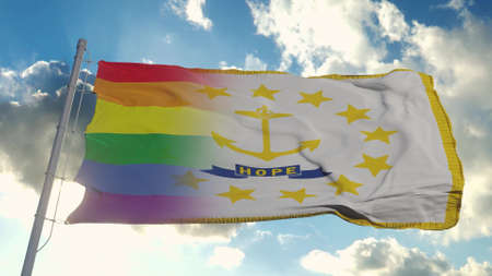 Flag of Rhode Island and LGBT. Rhode Island and LGBT Mixed Flag waving in wind. 3d rendering