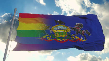 Flag of Pennsylvania and LGBT. Pennsylvania and LGBT Mixed Flag waving in wind. 3d rendering