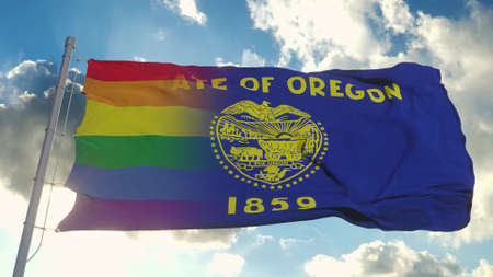 Flag of Oregon and LGBT. Oregon and LGBT Mixed Flag waving in wind. 3d rendering