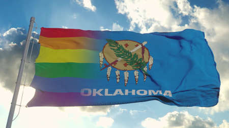 Flag of Oklahoma and LGBT. Oklahoma and LGBT Mixed Flag waving in wind. 3d rendering Banco de Imagens