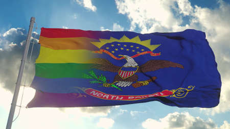 Flag of North Dakota and LGBT. North Dakota and LGBT Mixed Flag waving in wind. 3d rendering