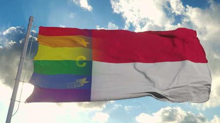 Flag of North Carolina and LGBT. North Carolina and LGBT Mixed Flag waving in wind. 3d rendering