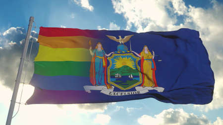 Flag of New York and LGBT. New York and LGBT Mixed Flag waving in wind. 3d rendering