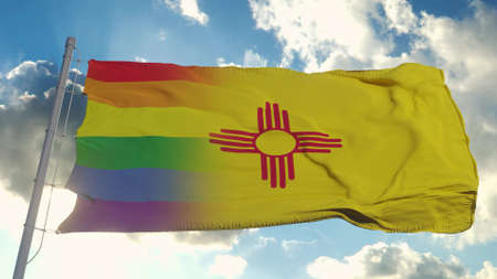 Flag of New Mexico and LGBT. New Mexico and LGBT Mixed Flag waving in wind. 3d rendering