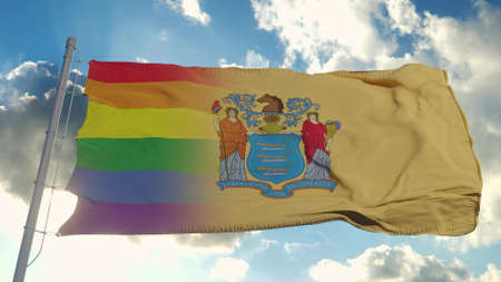 Flag of New Jersey and LGBT. New Jersey and LGBT Mixed Flag waving in wind. 3d rendering