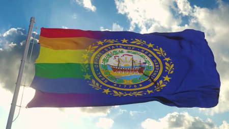 Flag of New Hampshire and LGBT. New Hampshire and LGBT Mixed Flag waving in wind. 3d rendering