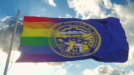 Flag of Nebraska and LGBT. Nebraska and LGBT Mixed Flag waving in wind. 3d rendering