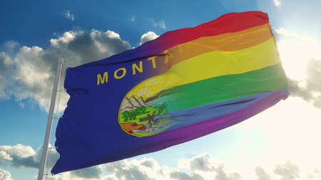 Flag of Montana and LGBT. Montana and LGBT Mixed Flag waving in wind. 3d rendering