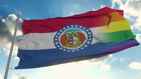 Flag of Missouri and LGBT. Missouri and LGBT Mixed Flag waving in wind. 3d rendering Banco de Imagens