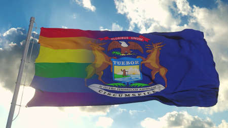 Flag of Michigan and LGBT. Michigan and LGBT Mixed Flag waving in wind. 3d rendering Banco de Imagens